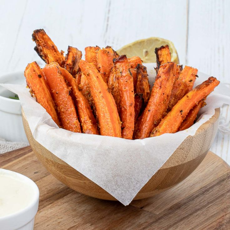 Bowl of carrot fries.