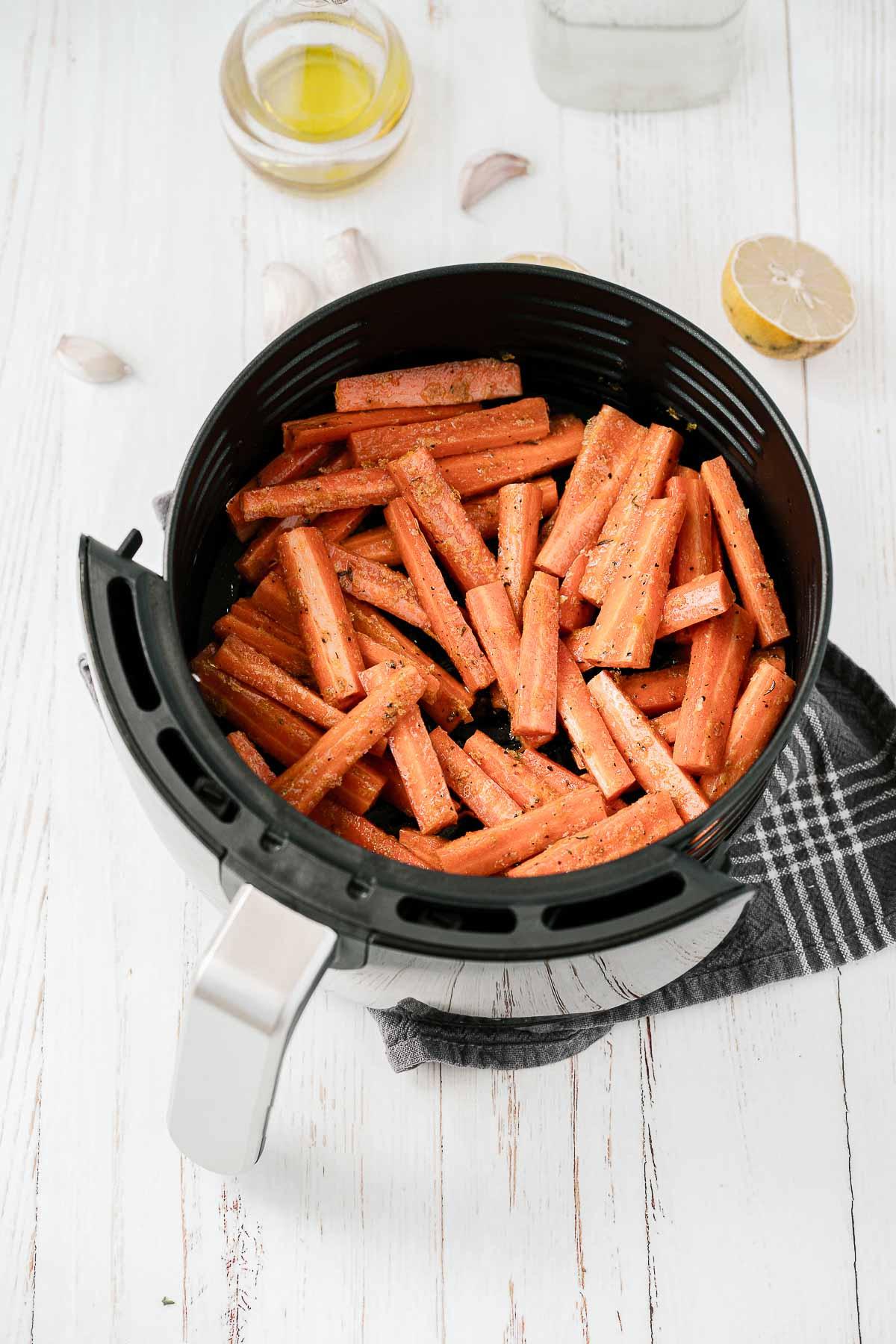 Carrots in an air fryer.