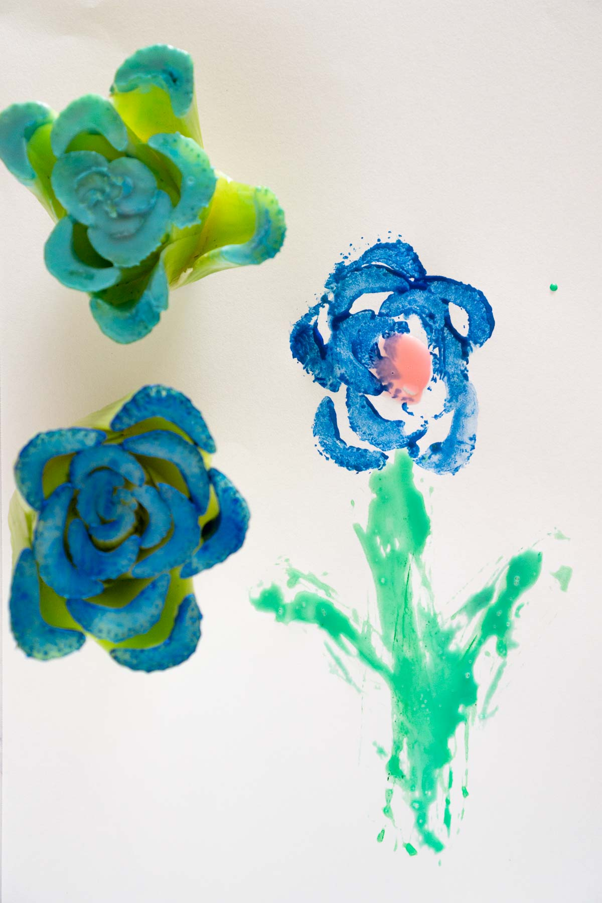 Toddler art made with celery printing.