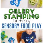 Pinnable image of sensory food play with celery stamping.