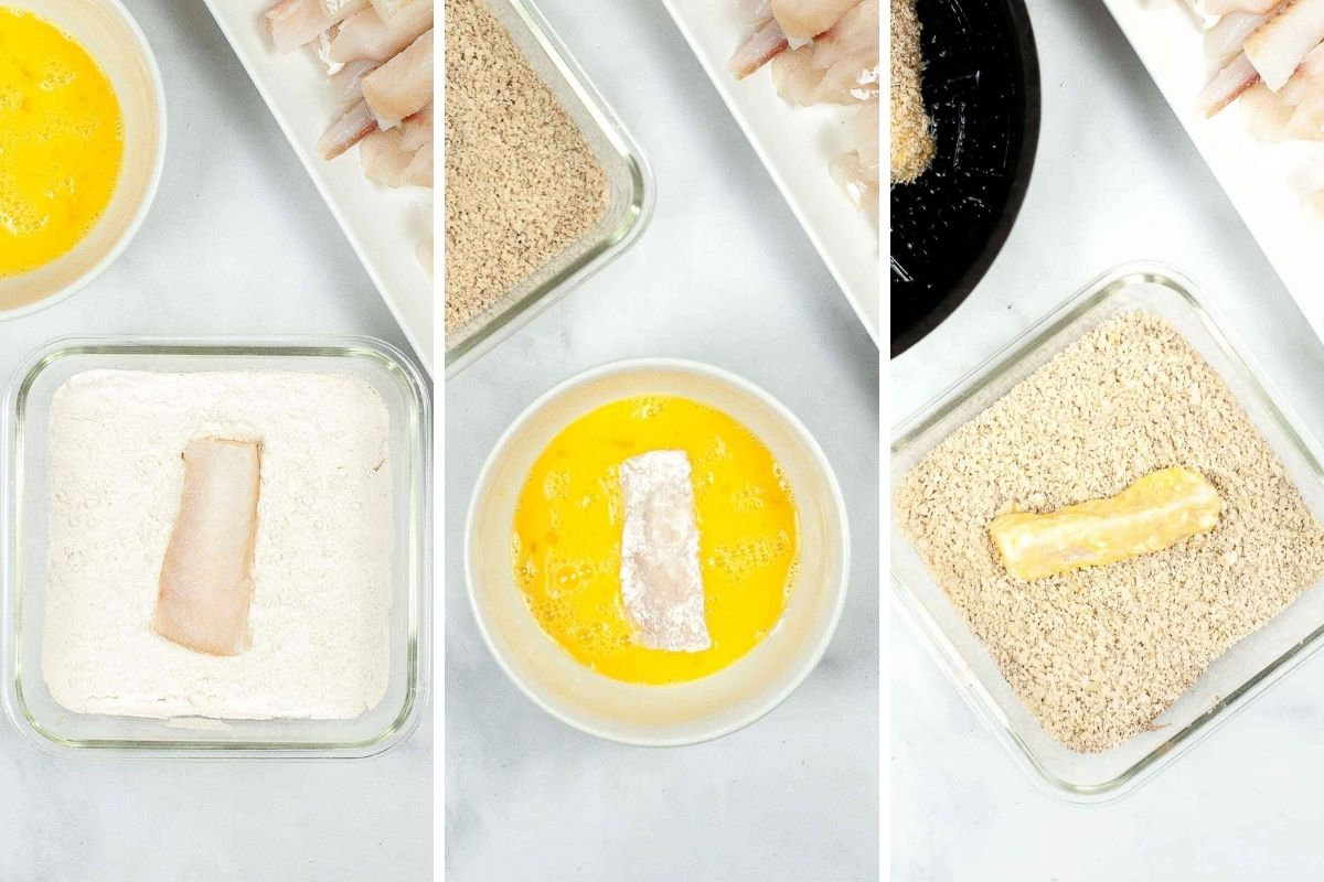 Collage of 3 pictures for how to bread fish sticks in breadcrumbs.