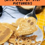 Pinterest image with text: Halloween pancakes with step-by-step instructions.