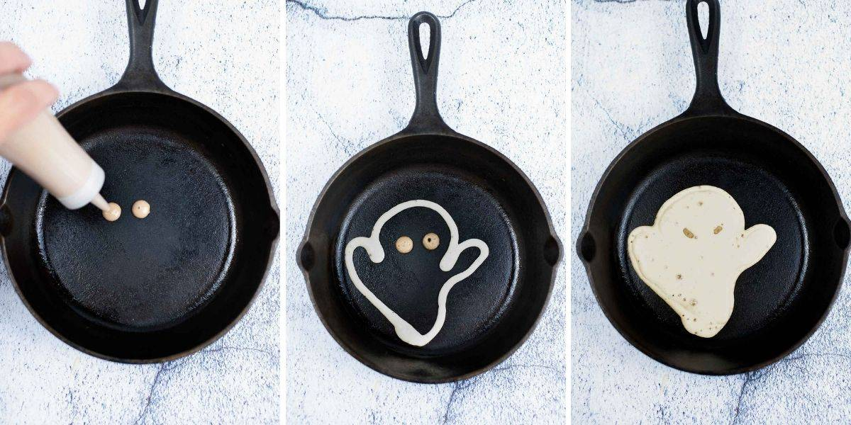 3 photos showing how to make ghost pancakes for halloween.